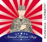 armed forces day with soldier... | Shutterstock .eps vector #1129868747