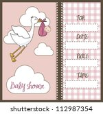 pink baby shower card with... | Shutterstock .eps vector #112987354