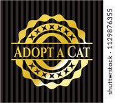 adopt a cat gold shiny badge | Shutterstock .eps vector #1129876355