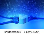 network cables and hub closeup...   Shutterstock . vector #112987654