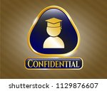 gold shiny badge with... | Shutterstock .eps vector #1129876607