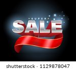 sale 3d with red ribbon banner. ... | Shutterstock .eps vector #1129878047