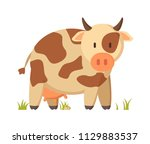 spotted cow funny character in... | Shutterstock .eps vector #1129883537