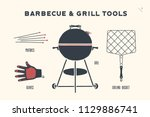 barbecue  grill set. poster bbq ... | Shutterstock .eps vector #1129886741