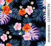 seamless tropical vector... | Shutterstock .eps vector #1129890734