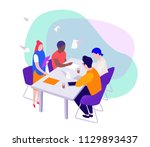 teamwork  a group businessmen... | Shutterstock .eps vector #1129893437