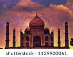 dramatic view of taj mahal ... | Shutterstock . vector #1129900061