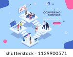 coworkers office concept with... | Shutterstock .eps vector #1129900571