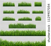 big set green grass borders... | Shutterstock .eps vector #1129907054