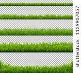 big set green grass borders... | Shutterstock .eps vector #1129907057