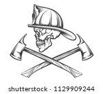 Firefighter Skull In Helmet And ...