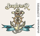 nautical vintage label  emblem... | Shutterstock .eps vector #1129909301