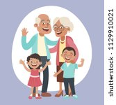happy grandparents and two... | Shutterstock .eps vector #1129910021