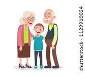 grandparents and grandson... | Shutterstock .eps vector #1129910024