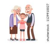 grandparents and granddaughter...   Shutterstock .eps vector #1129910027