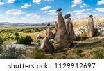 fairy chimneys view near... | Shutterstock . vector #1129912697