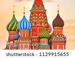 view of st. basil's cathedral... | Shutterstock . vector #1129915655