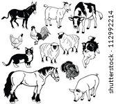 Vector Set Of  Farm Animals...
