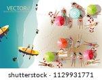 vector  young girls sunbath on...   Shutterstock .eps vector #1129931771