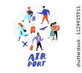 people traveling by plane....   Shutterstock .eps vector #1129935911