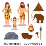 stone age symbols set ... | Shutterstock .eps vector #1129950911