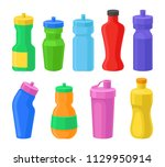 plastic reusable water bottles... | Shutterstock .eps vector #1129950914