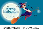 a cute witch flying with her... | Shutterstock .eps vector #1129952867