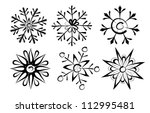 vector sketch of snowflakes on...