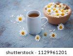 chamomile tea with fresh...   Shutterstock . vector #1129961201