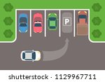 city car parking top view. the... | Shutterstock .eps vector #1129967711