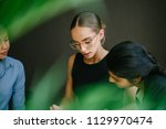 Small photo of Portrait of three women in an intense discussion. They are a diverse team with a Caucasian, Chinese and Indian woman poring over a book. They are young, dynamic and attractive.