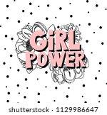 feministic hand drawn vector...   Shutterstock .eps vector #1129986647