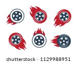 racing flat labels set. blaze... | Shutterstock .eps vector #1129988951