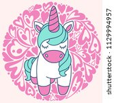 cute cartoon unicorn in vector | Shutterstock .eps vector #1129994957
