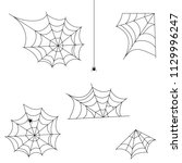 halloween cobweb vector frame... | Shutterstock .eps vector #1129996247