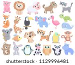 cute animals set. | Shutterstock .eps vector #1129996481