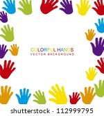 colorful hands with space for... | Shutterstock .eps vector #112999795