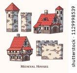 medieval ancient buildings set... | Shutterstock .eps vector #1129998539