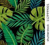 tropical vector green leaves... | Shutterstock .eps vector #1129999001