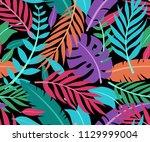 tropical vector green leaves... | Shutterstock .eps vector #1129999004