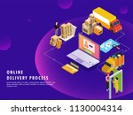 online delivery process ... | Shutterstock .eps vector #1130004314