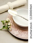 table with dishes prepared for... | Shutterstock . vector #113000464