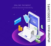 isometric  online payment from... | Shutterstock .eps vector #1130013491