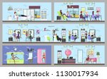 beauty salon interior. making... | Shutterstock .eps vector #1130017934