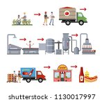 ketchup manufacture process.... | Shutterstock .eps vector #1130017997