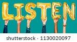 hands showing listen balloons... | Shutterstock . vector #1130020097