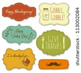 happy thanksgiving frames | Shutterstock .eps vector #113002084