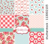 shabby chic rose patterns and... | Shutterstock .eps vector #113002105