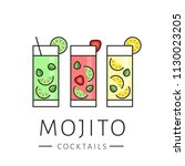 glass of cocktail mojito on... | Shutterstock .eps vector #1130023205