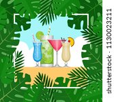 summer tropical cocktail with... | Shutterstock .eps vector #1130023211